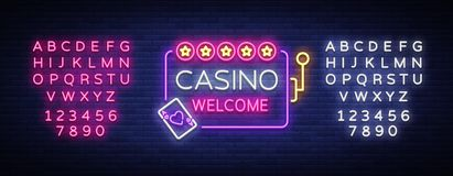 Casino welcome logo in neon style. Design template. Neon sign, light banner, neon billboard bright light advertising. Gambling, casino, poker, slot machines vector illustration