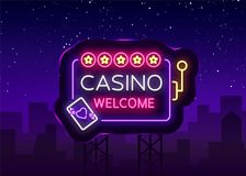 Casino welcome logo in neon style. Design template. Neon sign, light banner, night neon billboard, bright light Royalty Free Stock Photography
