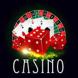 Casino wheel of fortune, poker cards vector poster Stock Image