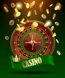 Casino wheel with green ribbon and crown under gold money rain. Vector illustration Royalty Free Stock Photo