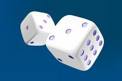 Casino white dice on blue background. Online casino dice gambling concept on blue. 3d dice vector illustration.  Stock Photo