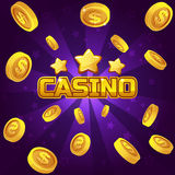 Casino winner background. Gold coins illustration. For Ui Game element, background glow Royalty Free Stock Image