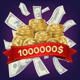 Casino Winner Vector Background. Coins And Dollars Money. Jackpot Prize Design. Winner Concept Illustration. Big Win Billboard For Casino. Winner Sign. Jackpot Stock Photography