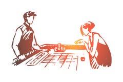 Casino, woman, game, poker, gamble concept. Hand drawn isolated vector. Casino, woman, game, poker, gamble concept. Hand drawn woman play poker in casino stock illustration