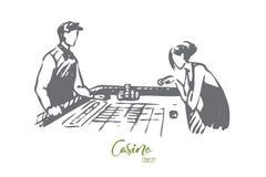 Casino, woman, game, poker, gamble concept. Hand drawn isolated vector. Casino, woman, game, poker, gamble concept. Hand drawn woman play poker in casino royalty free illustration