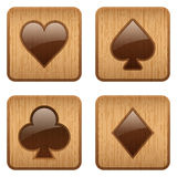 Casino wooden square icon card suits Royalty Free Stock Photography