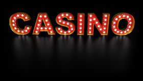 Casino Word Light Bulb Sign. With Gold Frame with Reflection on Black Floor. 3D Illustration Royalty Free Stock Photography