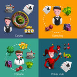 Casino 2x2 Compositions Set Royalty Free Stock Photos