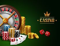 Casinoachtergrond met het gokken element Stock Afbeelding