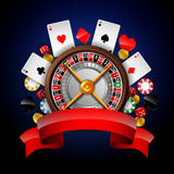 Casinoachtergrond met het gokken element Stock Foto