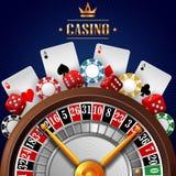 Casinoachtergrond met het gokken element Stock Foto's