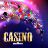 Casinoachtergrond met kaarten, craps en geld Stock Foto's