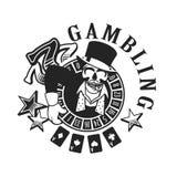 Casinoembleem op een witte achtergrond Royalty-vrije Stock Afbeelding