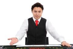 Casinohandelaar in vest en band royalty-vrije stock foto