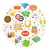 Casinopictogrammen in ronde vorm vlakke stijl Het gokken reeks op een witte achtergrond Pook, kaartspels, gokautomaat Royalty-vrije Stock Fotografie