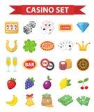 Casinopictogrammen, vlakke stijl Het gokken reeks op een witte achtergrond wordt geïsoleerd die Pook, kaartspels, gokautomaat, ro Stock Afbeeldingen