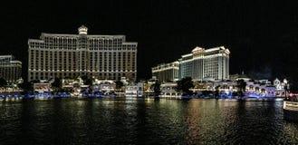 Casinos de Las Vegas na noite fotografia de stock royalty free