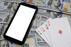 Casinos virtuales, dinero real imagen de archivo libre de regalías