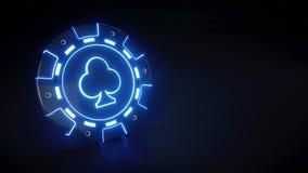Casinospaander met het gloeien van neon blauw die lichten en clubs symbool op de zwarte achtergrond wordt geïsoleerd - 3D Illustr stock illustratie