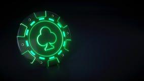 Casinospaander met het gloeien van neon groene lichten en clubs symbool dat op de zwarte achtergrond wordt geïsoleerd - 3D Illust vector illustratie