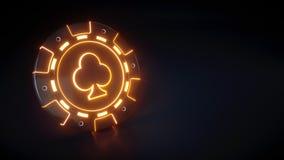 Casinospaander met het gloeien van neon oranje die lichten en clubs symbool op de zwarte achtergrond wordt geïsoleerd - 3D Illust vector illustratie