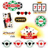 Casinotekens en emblemen Stock Foto's
