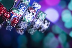 Casinothema met bokehlichten Royalty-vrije Stock Foto