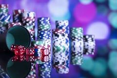 Casinothema met bokehlichten Royalty-vrije Stock Fotografie