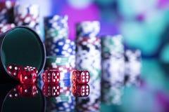 Casinothema met bokehlichten Stock Foto