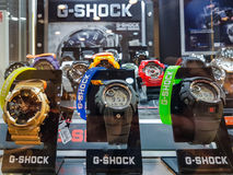 Casio G-Shock watches in a shop window. Nowy Sacz, Poland - June 30, 2017: Casio G-Shock watches for sale in a shop window. G-Shock is a line of watches Stock Photography
