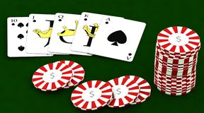 Casion chips and playing cards Stock Images