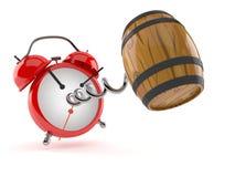 Cask with alarm clock vector illustration