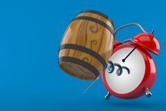 Cask with alarm clock stock illustration