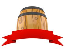 Cask with blank red ribbon. Isolated on white background. 3d illustration vector illustration