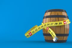 Cask with centimeter. On blue background Stock Photos