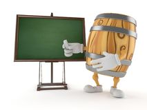 Cask character with blank blackboard vector illustration