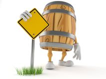 Cask character with blank road sign royalty free illustration