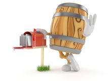Cask character with mailbox. Isolated on white background. 3d illustration stock illustration