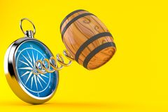 Cask with compass. Isolated on orange background. 3d illustration Stock Image