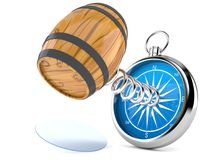 Cask with compass. On white background. 3d illustration Royalty Free Stock Image