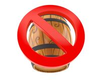 Cask with forbidden sign. Isolated on white background. 3d illustration stock illustration