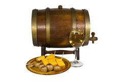 Cask with Glass of Wine Pickled Onions and Cheese Royalty Free Stock Photos