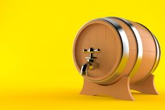 Cask. Isolated on orange background Royalty Free Stock Photos