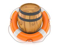 Cask with life buoy. Isolated on white background. 3d illustration Stock Image