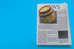 Cask with newspaper. Isolated on blue background. 3d illustration Stock Images