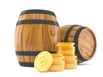 Cask with stack of coins. Isolated on white background royalty free illustration