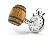 Cask with stopwatch. Isolated on white background vector illustration