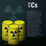 A cask of toxic radioactive waste. Container yellow with danger symbol. Pollution cesium 137. Stock Photos
