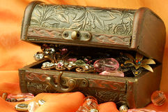 Casket. Old style casket with  jewelleries Royalty Free Stock Photography