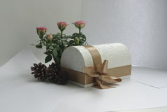 Casket with bow. Decorative box with fir cones and roses Royalty Free Stock Images